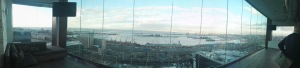 A lame panoramic photo taking with the weakass camera on my stupid phone. Does not do the view justice at all.